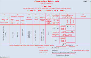Return from Harwell Primitive Methodist chapel in the 1851 Census of Places of Public Religious Worship